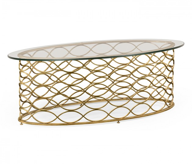 Interlaced gilded & glass oval coffee table