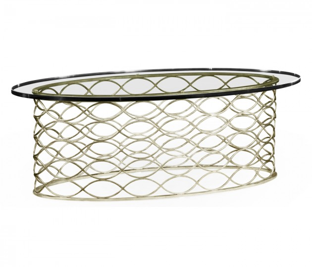 Interlaced silver & glass oval coffee table