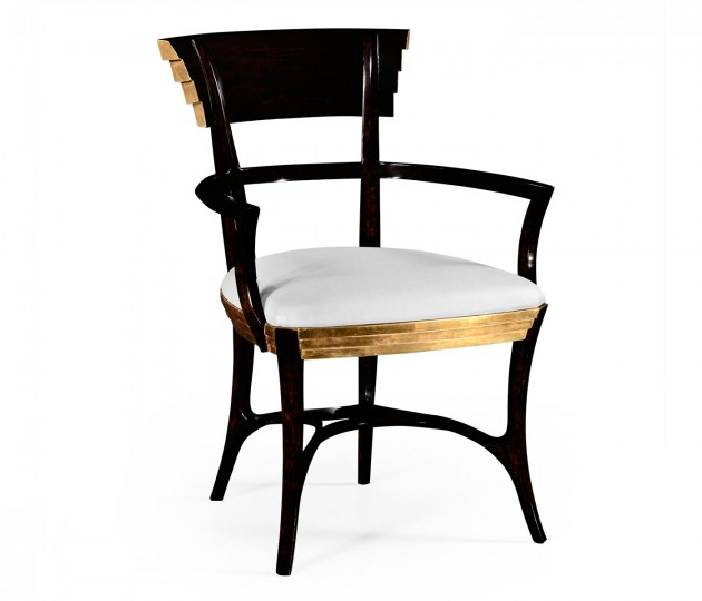 Stepped Gilded Dining Armchair, Upholstered in COM