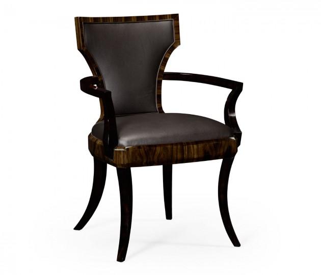 Full Back Art Deco Macassar Ebony High Lustre Dining Armchair, Upholstered in Dark Chocolate Leather