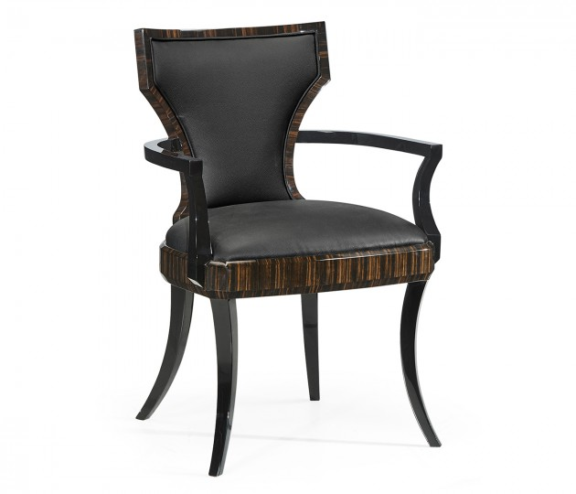 Full Back Art Deco Macassar Ebony High Lustre Dining Armchair, Upholstered in Dark Chocolate Leather