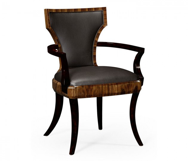 Art Deco High Lustre Santos Arm Chair, Upholstered in Dark Chocolate Leather