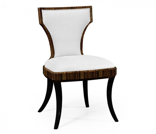 Full Back Art Deco Macassar Ebony High Lustre Dining Side Chair, Upholstered in COM by Distributor