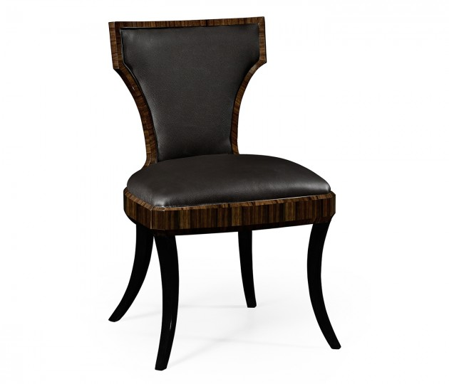 Full Back Art Deco Macassar Ebony High Lustre Dining Side Chair, Upholstered in Dark Chocolate Leather