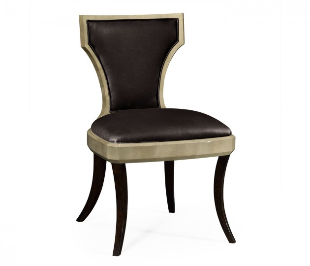 Art Deco Champagne Side Chair, Upholstered in Dark Chocolate Leather