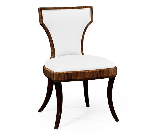 Art Deco Satin Santos Side Chair, Upholstered in COM by Distributor