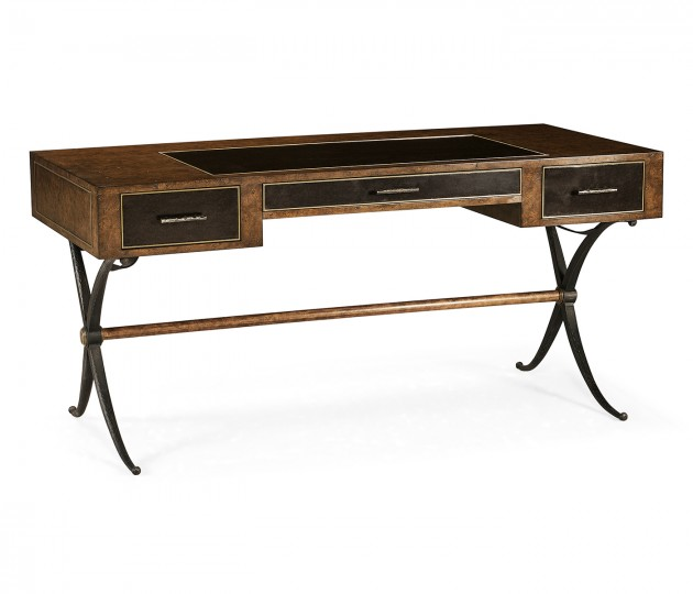 Hammered Iron Bureau Plat with Black Leather Inserts
