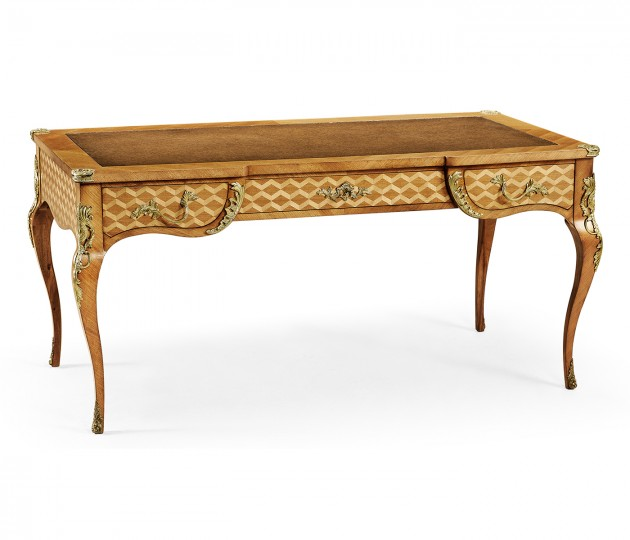 Satinwood and marquetry bureau plat