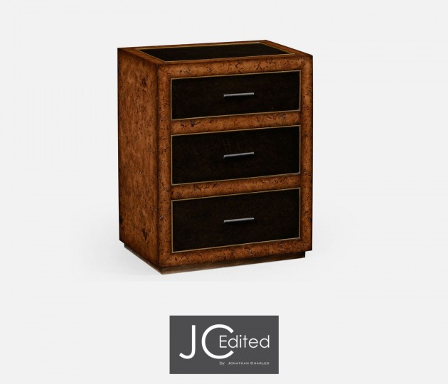 Rustic Burl Oak and Leather Chest of Three Drawers