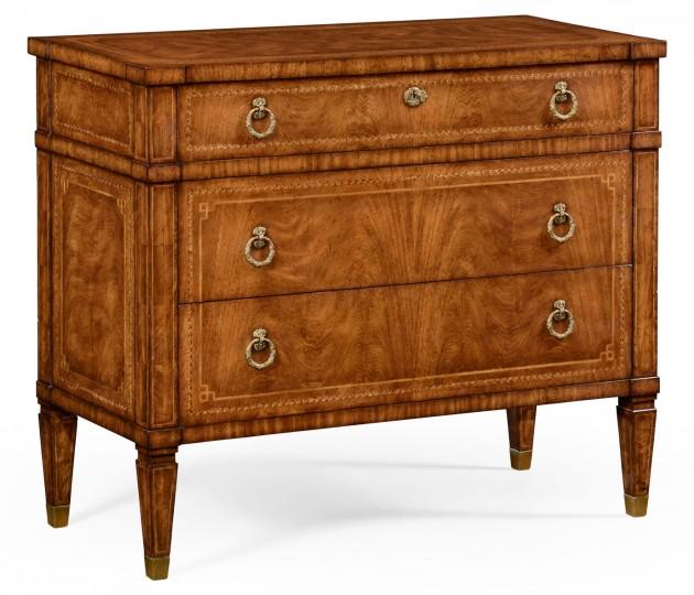Empire Style Walnut Three Drawer Chest