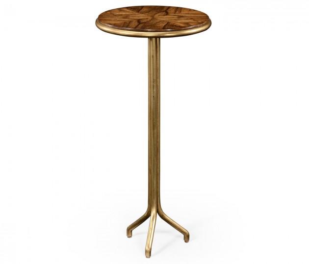 Argentinian walnut veneered circular lamp table