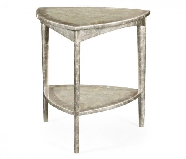 Silver Espresso Triangular Side Table