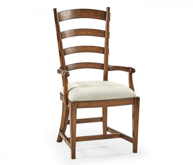 Walnut Ladderback Style Arm Chair