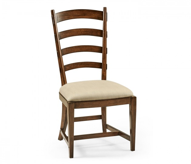 French Ladderback Style Carver Side Chair, Upholstered in MAZO