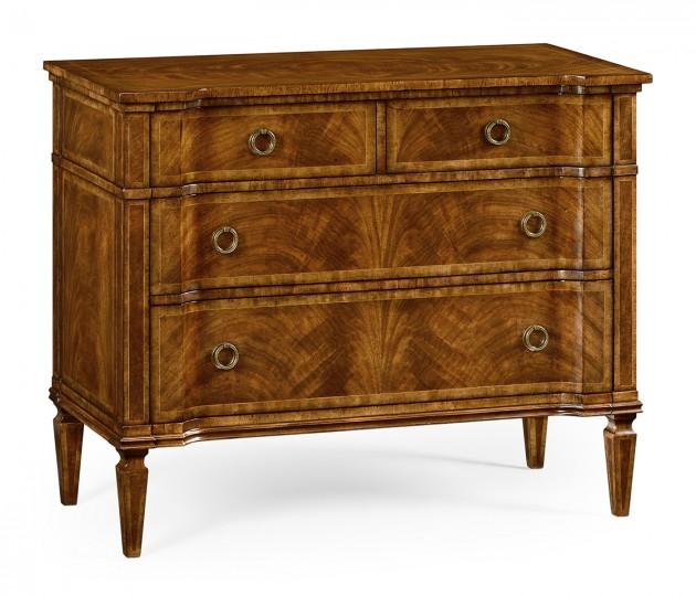 Regency style walnut reverse breakfront chest of drawers
