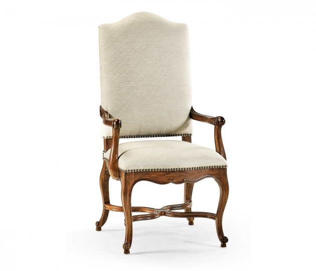 French Baronial Style Country Arm Chair, Upholstered in Skipper