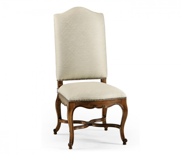 French Baronial Style Country Side Chair, Upholstered in Skipper