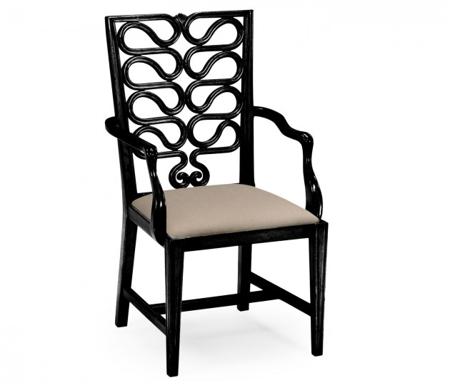Black Painted Serpentine Open Back Dining Armchair