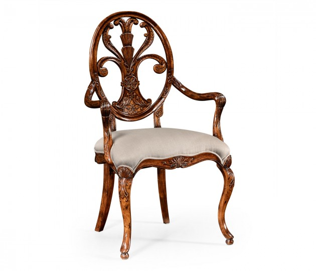 Sheraton Style Oval Back Chair Fabric Seat (Arm)