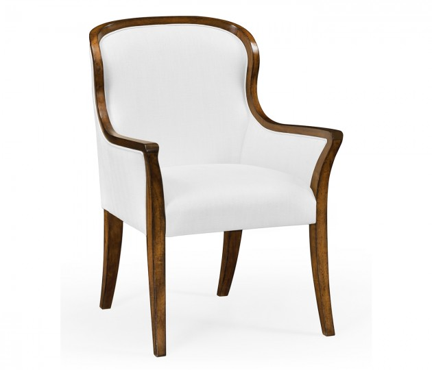 Low Curved Back Dining Arm Chair, Upholstered in COM by Distributor