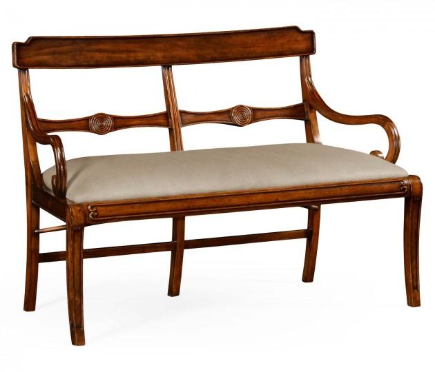 Regency walnut bench with scrolling arms