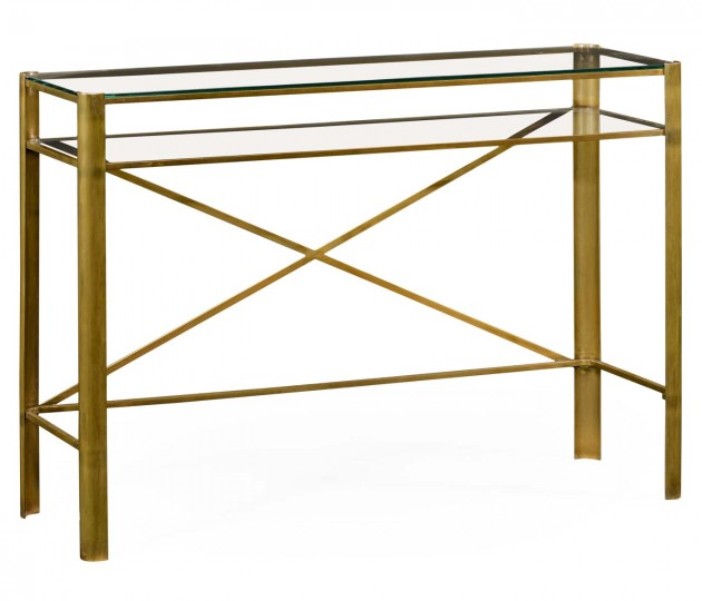 Brass & Glass Rectangular Console