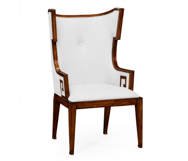 Greek Key Design Biedermeier Walnut Arm Chair - COM