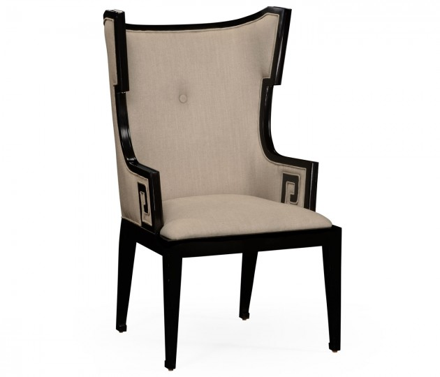 Greek Key Design Biedermeier Black Armchair