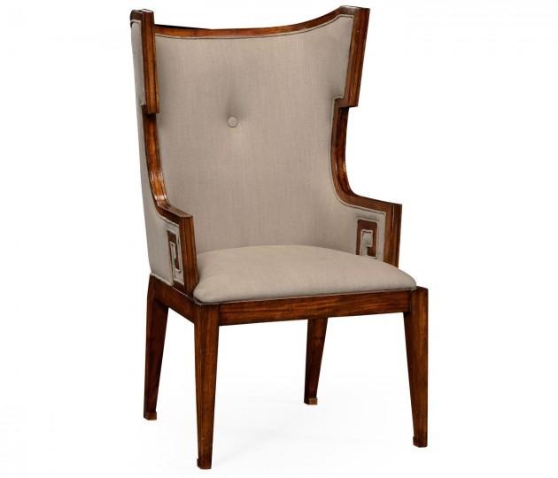 Greek Key Design Biedermeier Walnut Arm Chair