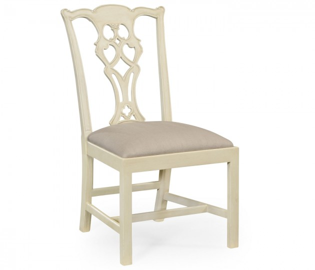 Linen Painted Chippendale Style Classic Walnut Side Chair