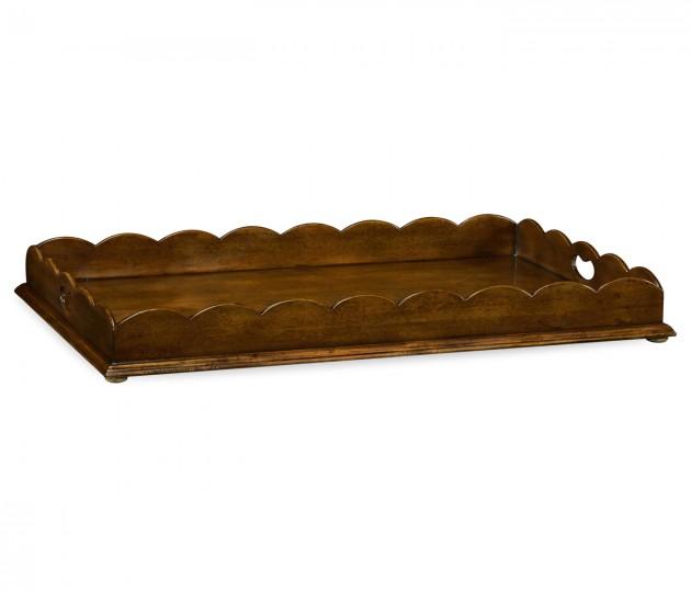 Large Scallopped Walnut Tray