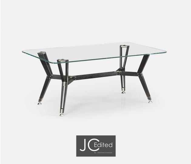 Midcentury Style Rectangular Black Mocha Oak Coffee Table with Glass Top