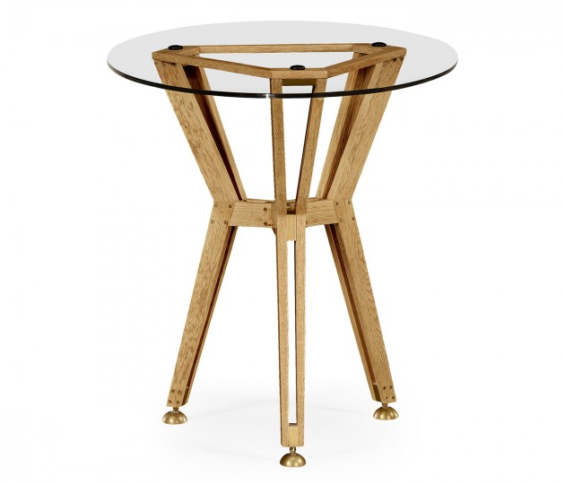 "24"" Oak Architectural Circular Side Table"