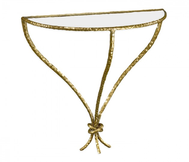 Hammered Light Brown Brass Wall Mounted Bracket Table