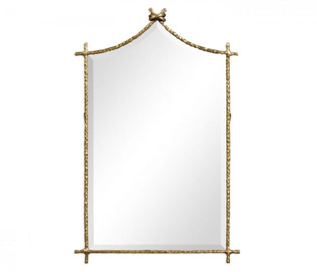 Hammered Light Brown Brass Wall Mirror
