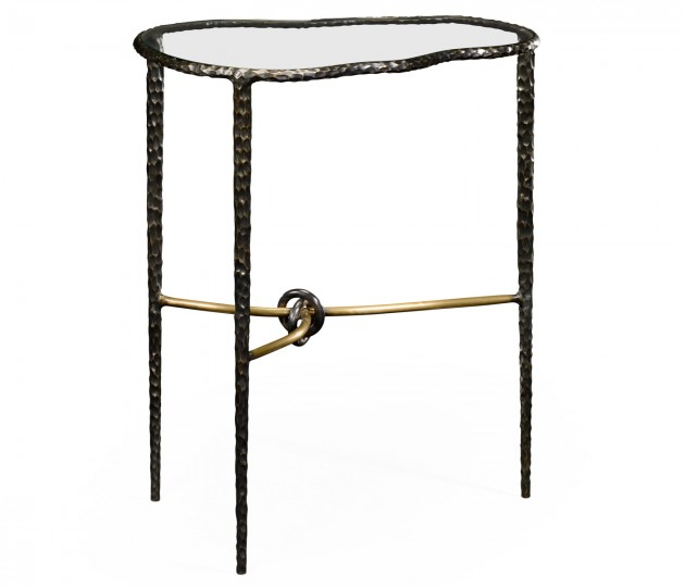 Hammered Antique Black Brass Freeform Lamp Table