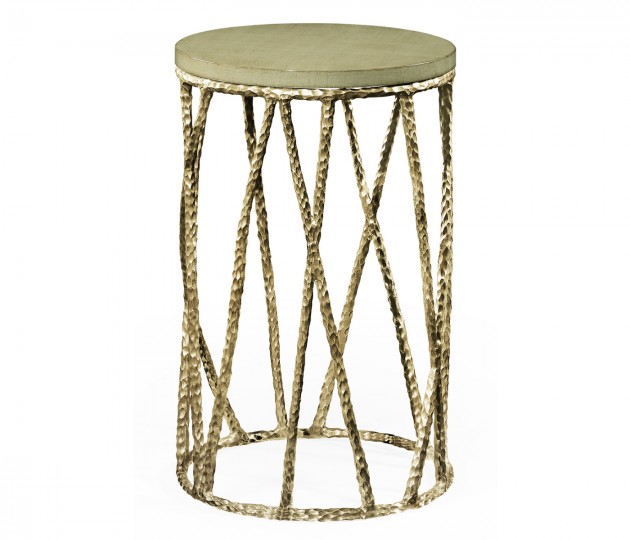 Hammered Light Brown Brass Wine Table with Celadon Top