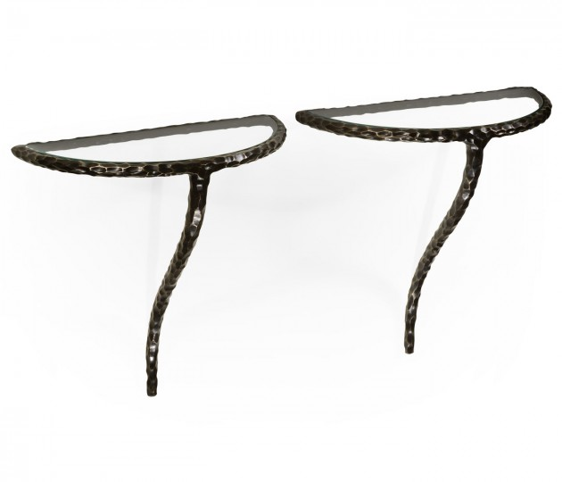 Bronze hammered pair wall bracket tables