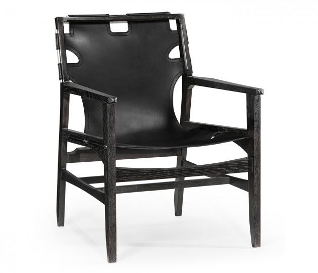 Midcentury Style Slung Black Leather & Black Mocha Oak Easy Chair