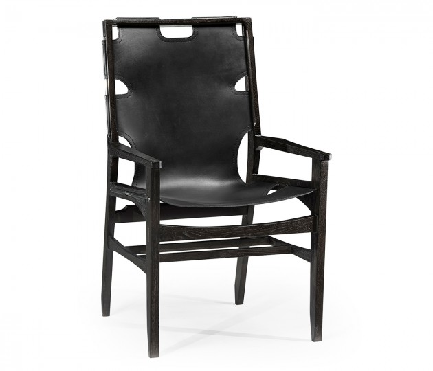 Midcentury Style Slung Black Leather & Black Mocha Oak Dining Arm Chair