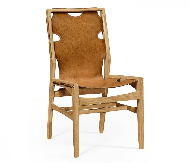 Midcentury Style Slung Medium Antique Chestnut Leather & Light Oak Side Chair