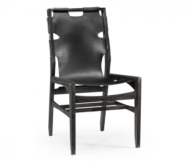 Midcentury Style Slung Black Leather & Black Mocha Oak Dining Side Chair