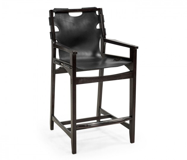 Midcentury Style Slung Black Leather & Black Mocha Oak Counter Stool
