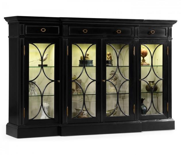 Four Door Breakfront Black Display Cabinet