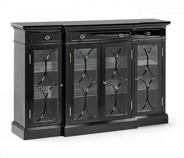 Madison Four Door Breakfront Piano Black & White Brass Display Cabinet