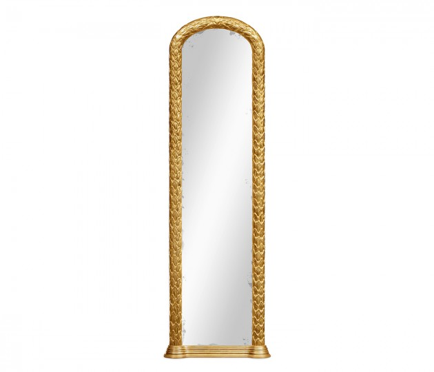Carved and water gilded gold leaf narrow floor standing mirror
