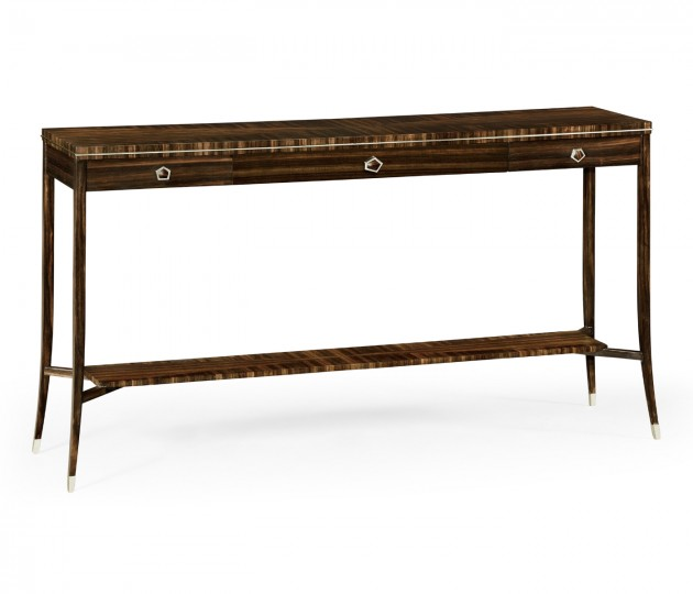 Macassar Ebony Console Table with White Brass Detail