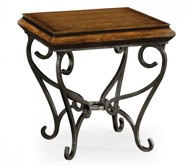 Rustic Walnut Square Side Table with Wrought Iron Base