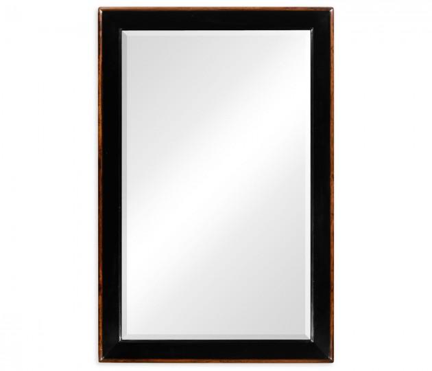 Black and walnut rectangular mirror (Small)
