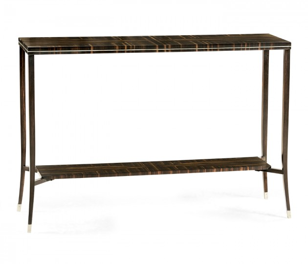Macassar Ebony Narrow Console with White Brass Detail